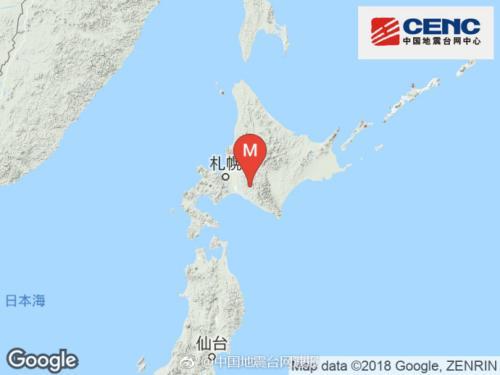 日本北海道地区发生5.2级地震 震源深度30千米