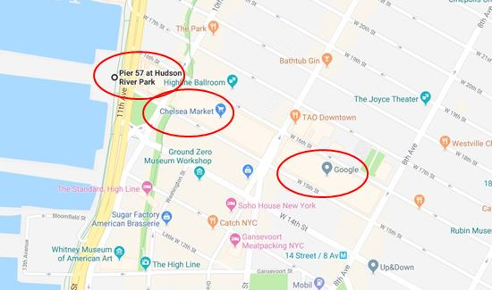 (三處紅圈從左到右依次爲:Pier 57碼頭、切爾西大樓、谷歌紐約辦公樓,聖約翰碼頭在南邊不遠,又稱40號碼頭)