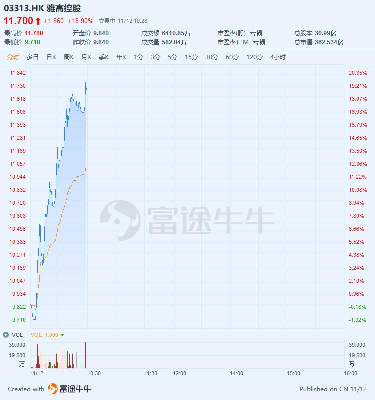 拟向中色地料矿产配售不超1亿股,雅高控股大涨19%再创新高