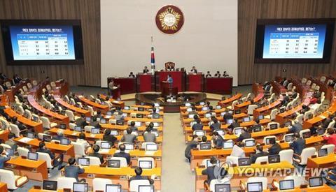 图为13日韩国国会对政府质询场景。(韩联社)