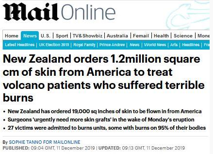 新西兰火山喷发多人烧伤,空运12