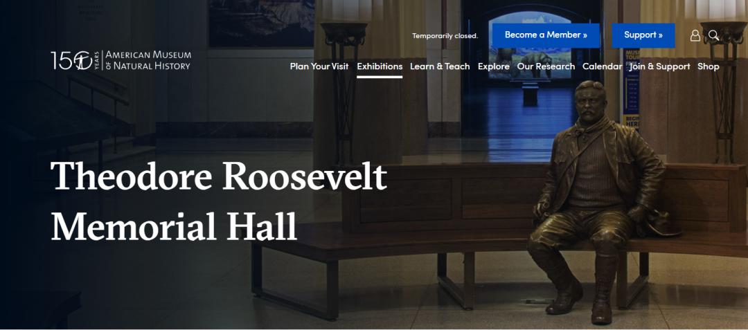博物馆内老罗斯福纪念厅介绍,图源:美国自然历史博物馆官网