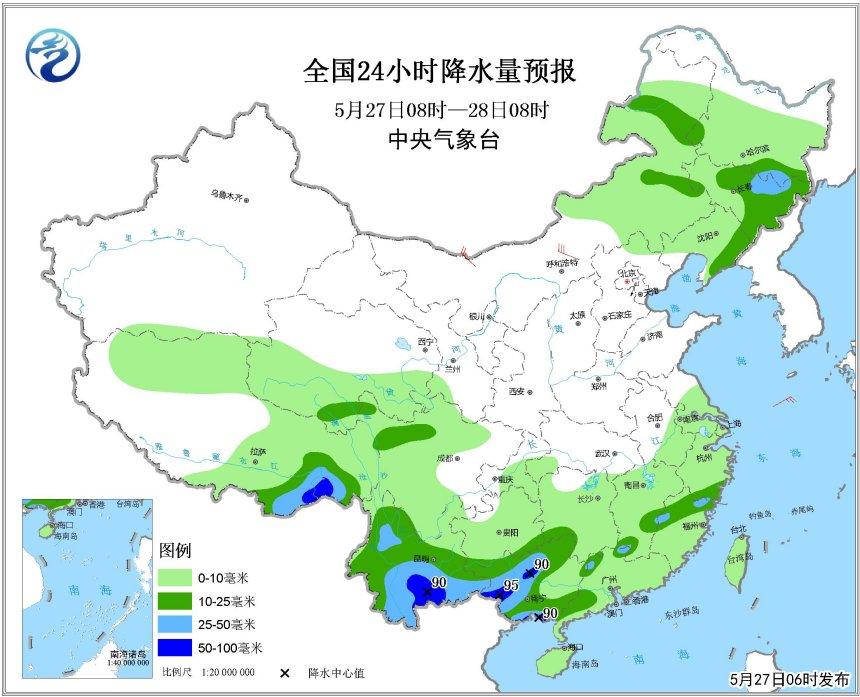 较强降水坚守云南广西 内蒙古东北地区阵雨来袭