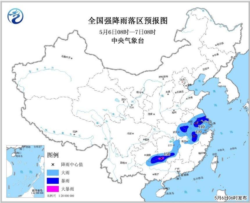 暴雨黄色预警:湖北安徽等7省份局地将有大暴雨