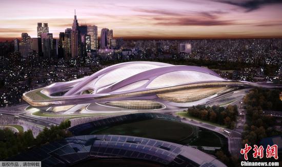 资料图:原设计方案中东京奥运会主会场的新概念图。