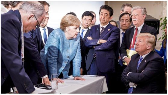 默克尔发布的G7峰会照片。