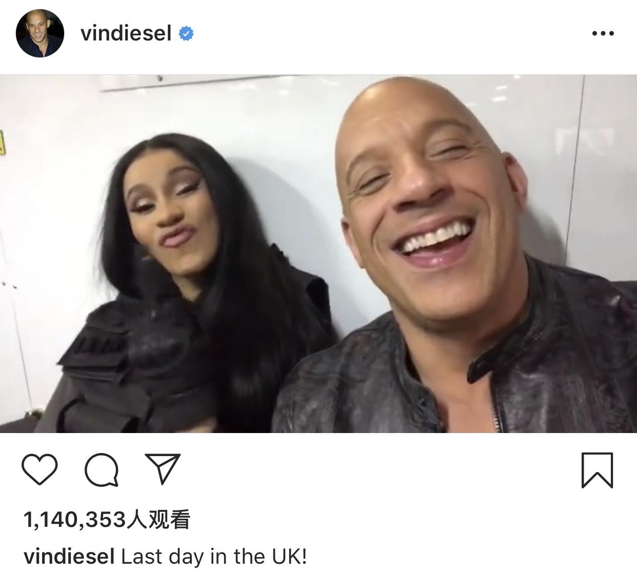 范·迪塞尔官宣:说唱女歌手卡迪·B加盟《速9》