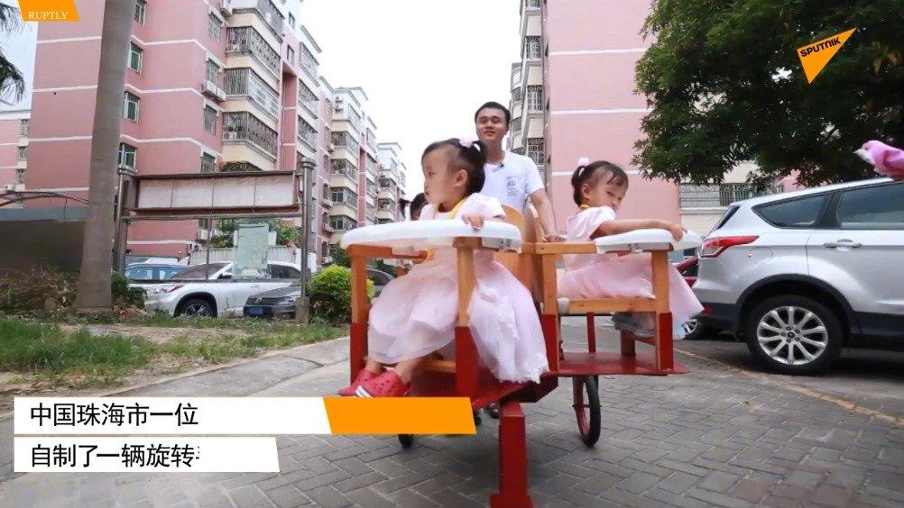 三孩超级奶爸自制旋转婴儿手推车
