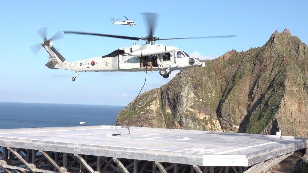 韩军在独岛举行两天防御演习