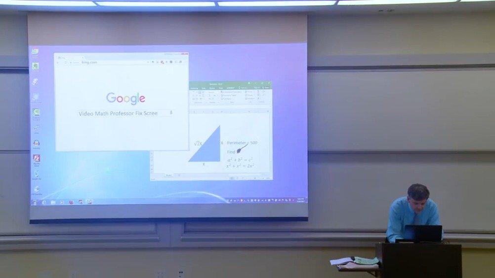 一名数学老师不小心把投影幕当成了黑板,在上面画了一条线,之后