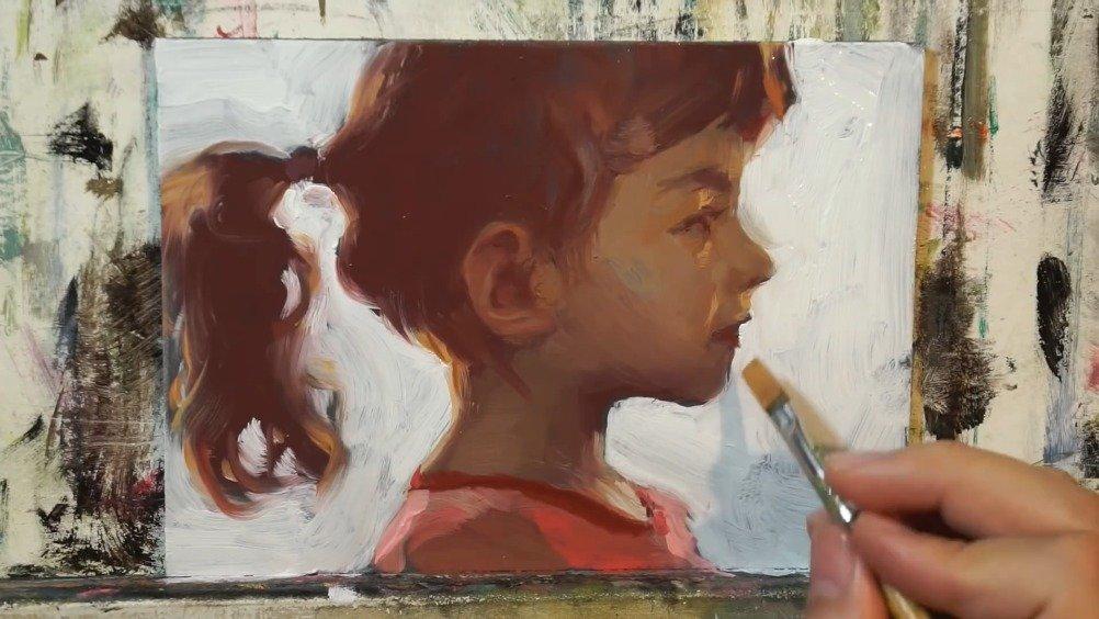 小姑娘的侧颜手绘,学习色彩头像参考(美术视频)分享。