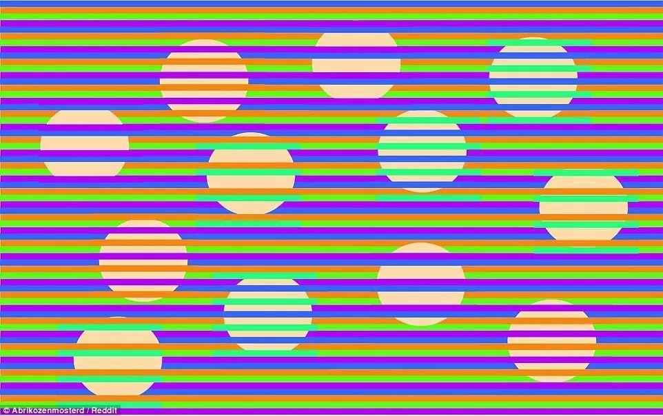 放大到全屏才能看得出,所有圆圈都是淡淡的杏黄色。