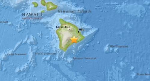 美国夏威夷南部发生5.4级地震。(图片来源:美国地质勘探局网站截图)