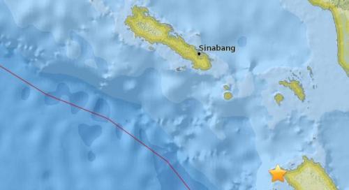 印度尼西亚附近海域5.2级地震 震源深度23.4公里