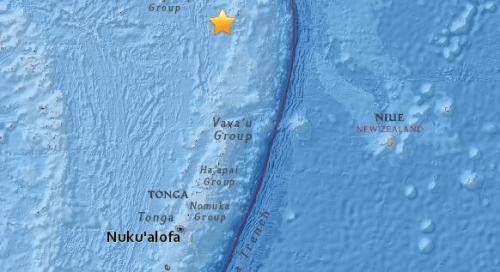 南太平洋岛国汤加附近海域发生5.4级地震。(图片来源:美国地质勘探局网站截图)