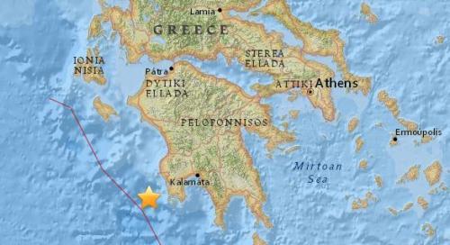 希腊南部附近海域发生5.5级地震。(图片来源:美国地质勘探局网站截图)