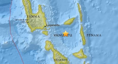 瓦努阿图附近海域5.4级地震 震源深度128.9公里