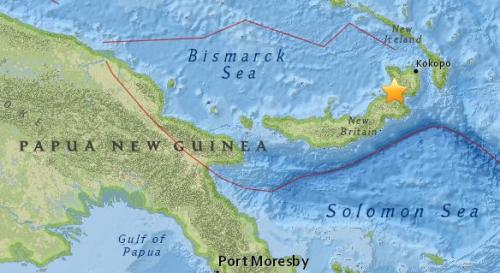 巴布亚新几内亚科科波西南方向81公里处发生5.0级地震。(图片来源:美国地质勘探局网站截图)