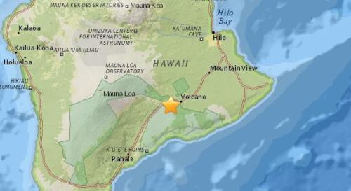 美国夏威夷大岛发生5.5级地震。(图片来源:美国地质勘探局网站截图)