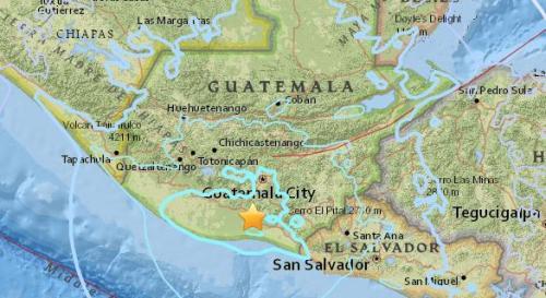 危地马拉南部发生5.6级地震 震源深度99.7公里