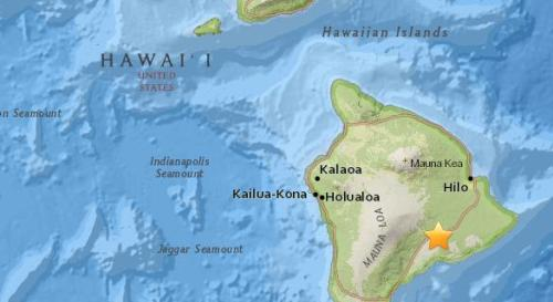 美国夏威夷南部地区发生5.2级地震。(图片来源:美国地质勘探局网站截图)
