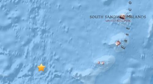 南桑威奇岛附近海域5.7级地震 震源深度27.2千米