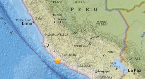 秘鲁西南部沿海地区5.2级地震 震源深51.7公里