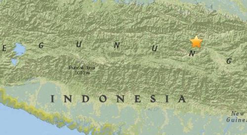 印度尼西亚埃纳罗塔利以东250公里处发生5.4级地震。(图片来源:美国地质勘探局网站截图)