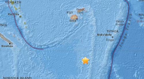 斐济以南海域发生5.5级地震 震源深度478.9公里