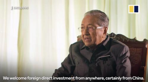 图说:马哈蒂尔在采访中表示,欢迎来自中国企业的投资