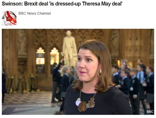 BBC报导自在平易近主党党魁乔·斯温森批评截图