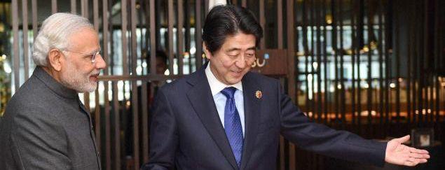 ▲资料图片:日本首相安倍晋三与印度总理莫迪(印度报业托拉斯)