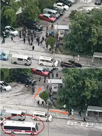 暴徒逃入停车场被一网打尽 香港市民:支持警方
