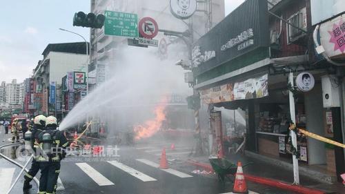 台一工程施工疑挖断瓦斯管线 发生火灾致一男子伤