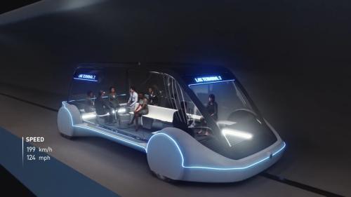 马斯克旗下公司所设计的'滑板式'隧道车,将成为芝加哥市区与奥黑尔机场的未来交通选项之一。(图片来源:Boring公司视频截图)