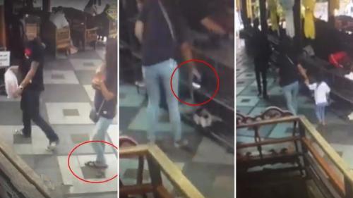 中国游客赴泰旅游鞋被偷 监控显示系一对夫妇作案
