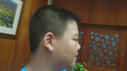 15岁少年陈柏翰压力大,头发都开始白了。台湾《联合报》记者罗建旺/摄影