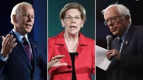 從左至右依次爲:拜登、沃倫和桑德斯。布隆伯格參選前,這三人是民主黨內大熱人選。