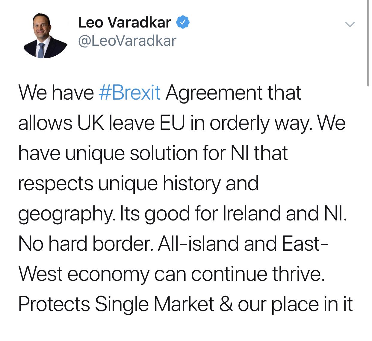 爱尔兰总理瓦拉德卡的推特截图。/ 推特