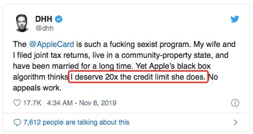 男性比女性信用额高20倍?苹果信