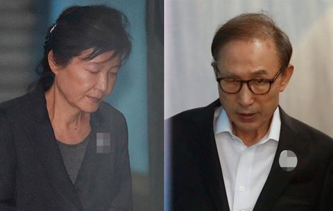 图为朴槿惠和李明博