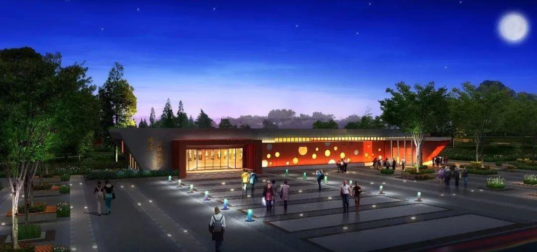 农:花田,前景,阵形展示以访客中心建筑和两旁的产业树农具成绿色景观设计农田的广场图片