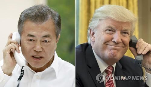 资料图片:韩国总统文在寅和美国总统特朗普。(图片来源:韩联社)
