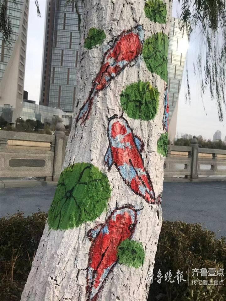 树上也能作画 济南小清河沿岸柳树穿上彩色的保护衣