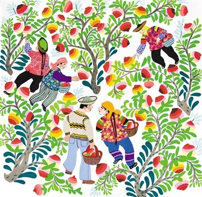 这些农民画构思奇妙,构图大胆,造型自由夸张,色彩鲜艳和谐,形象质朴而