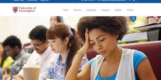 """▲""""法明顿大学""""官网。图据底特律新闻"""