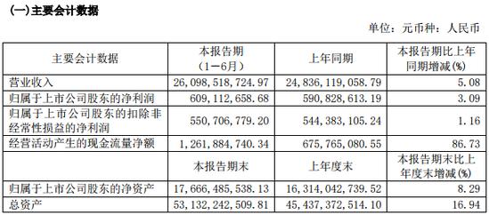 百联股份H1营收增长5.08% 净利增长3.09%