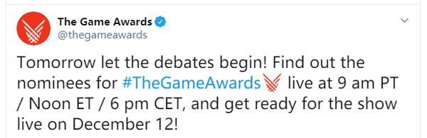 TGA 2019奖项提名将于11月20日正式公开