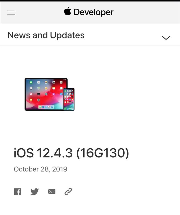 苹果iOS 12.4.3正式版推送:适用于旧版iPhone/iPad设备