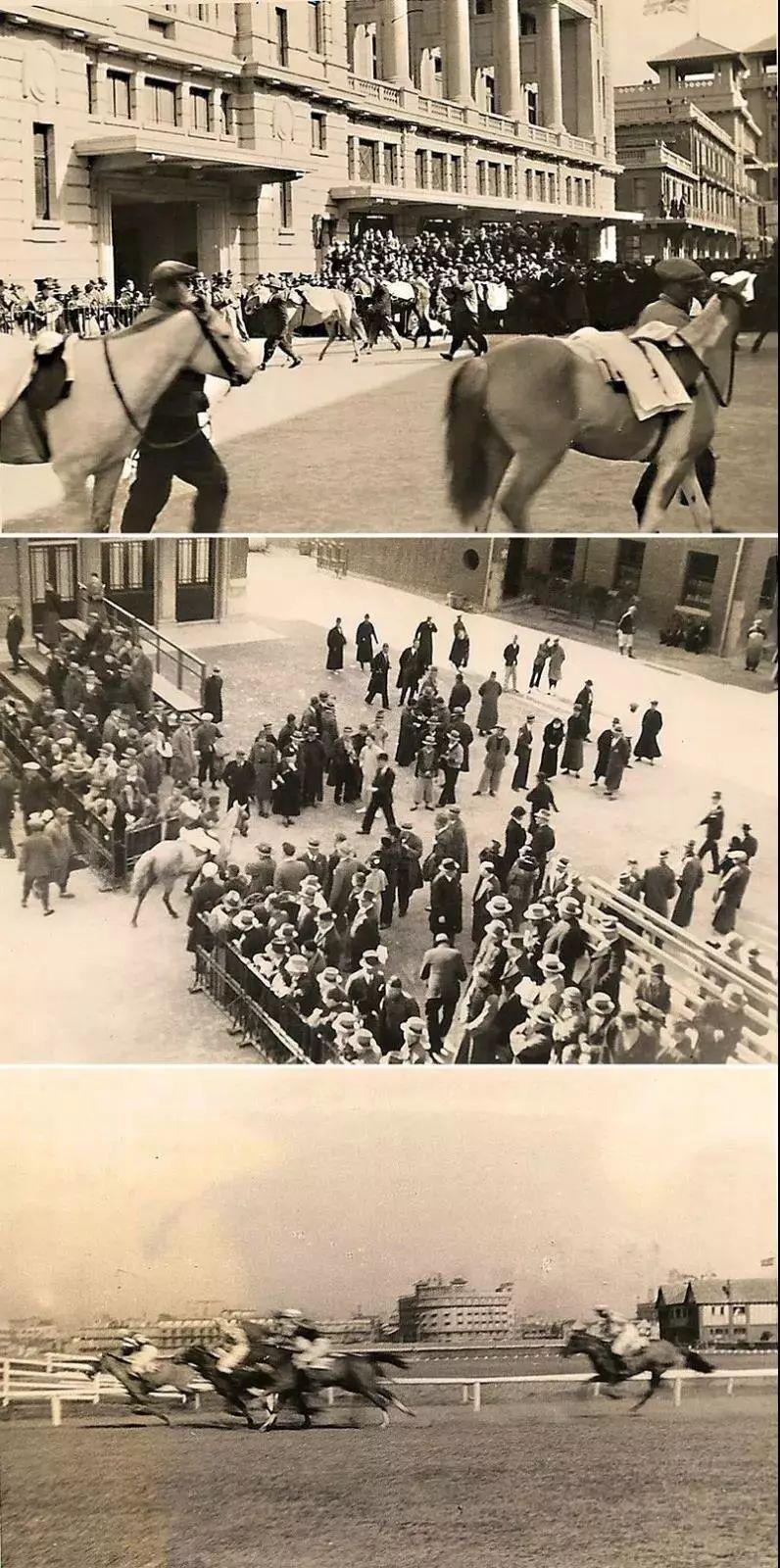 上海跑马厅极盛时期的影像。各种建筑和比赛细节非常清晰。